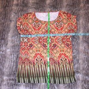 EUC Dress Barn Boho Print top blouse shirt M